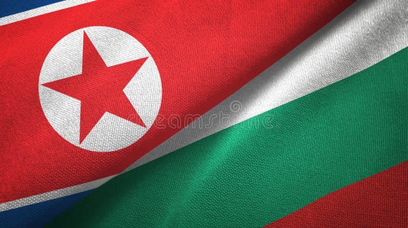 Korea Północna i Bułgaria dwa flagi tekstylny płótno, tkaniny tekstura ilustracji