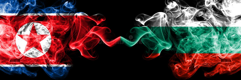 Korea Północna vs Bułgaria, Bułgarskie dymiące tajemnicze flagi umieszczająca strona strona - obok - G?ste barwione silky dymne f ilustracja wektor