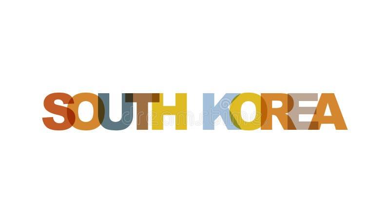 Korea Południowa, zwrota nasunięcia kolor żadny przezroczystość Pojęcie prosty tekst dla typografia plakata, majcheru projekt, od ilustracji