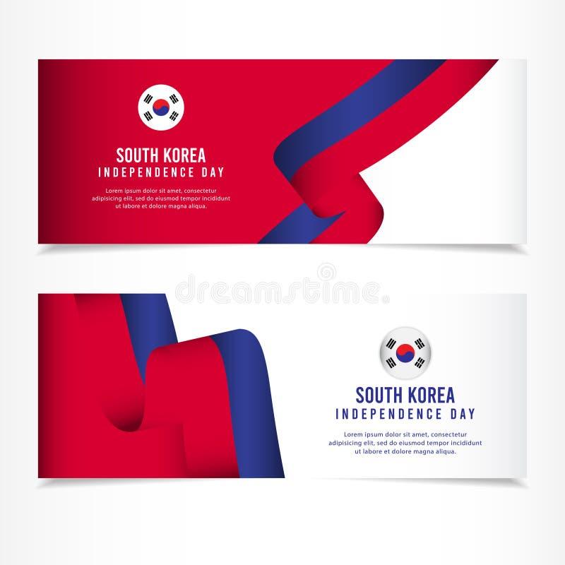 Korea Południowa dnia niepodległości świętowanie, sztandaru ustalonego projekta szablonu Wektorowa ilustracja royalty ilustracja
