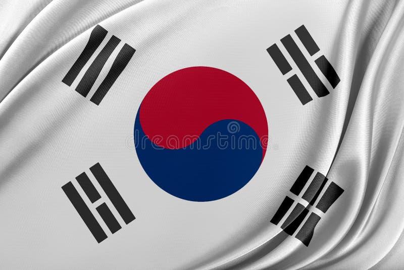 Korea södra flagga med en glansig siden- textur royaltyfri illustrationer