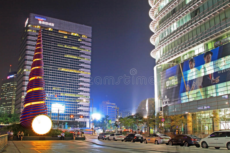 Korea Seoul Cheonggyecheon Stream And City Night Scenes royalty free stock images