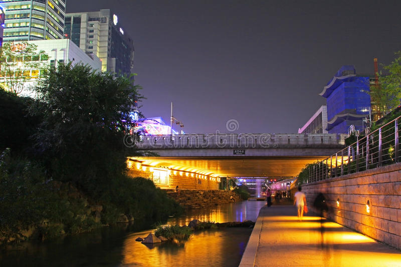 Korea Seoul Cheonggyecheon Stream And City Night Scenes royalty free stock photography