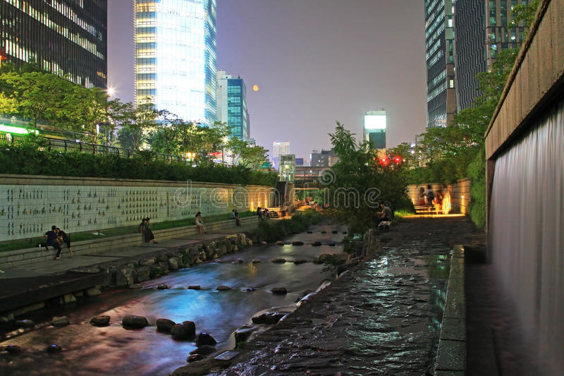 Korea Seoul Cheonggyecheon Stream And City Night Scenes stock image