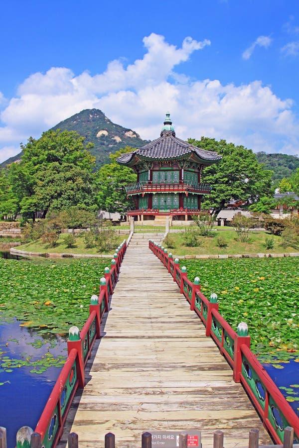 Korea Seul Gyeongbokgung pałac, Hyangwonjeong obraz stock
