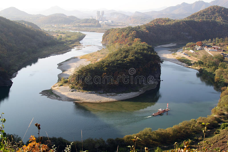 Korea-shaped peninsula. At Yeongwol-gun, Gangwon-do, South Korea royalty free stock photos