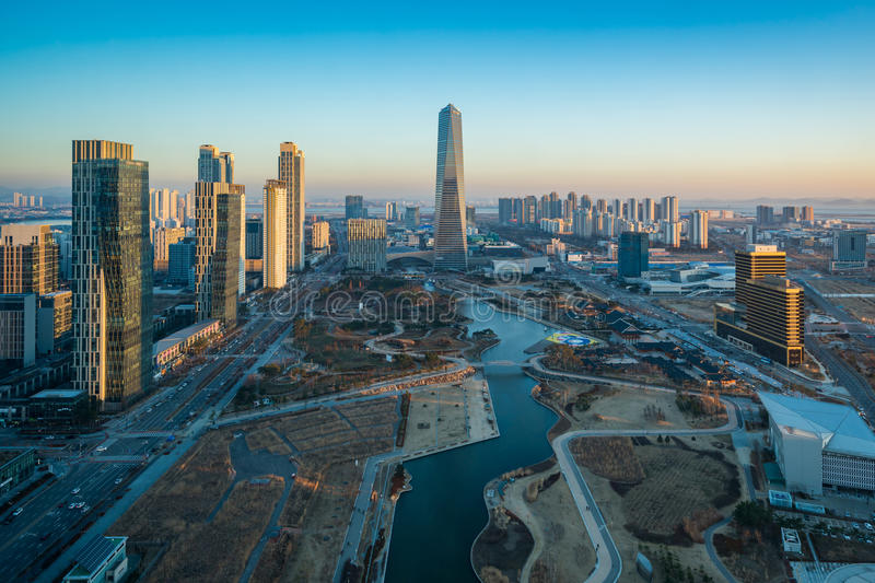 Korea,Songdo Central Park in Songdo International Business District.  royalty free stock photos