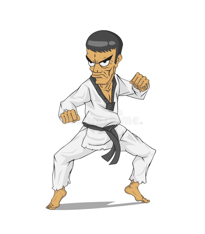 Korea Taekwondo förlage vektor för silueta för konstflickor krigs- stock illustrationer