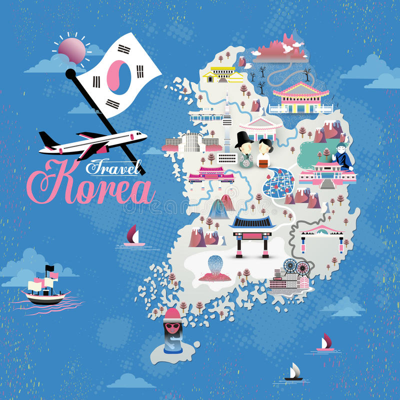 Korea travel map. Design with attractions over blue background royalty free illustration