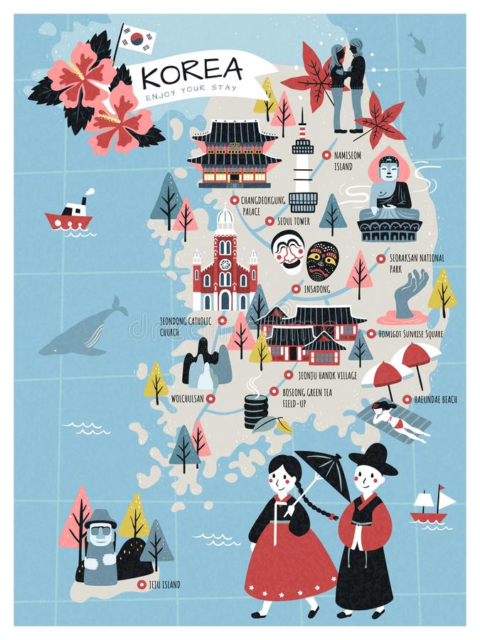 Korea travel map. Lovely flat style korea attractions and specialties for traveler stock illustration