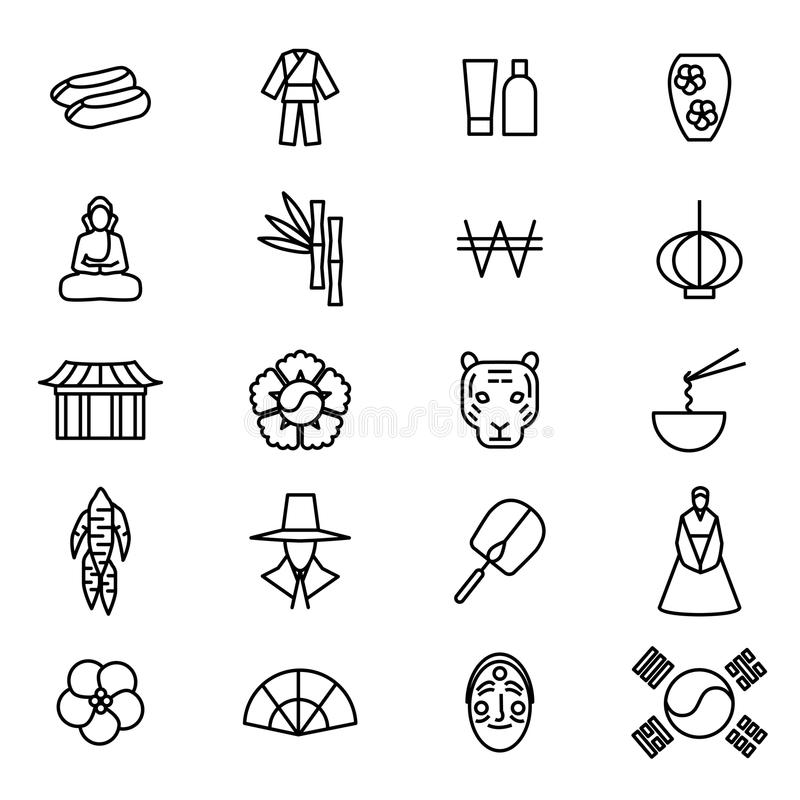 Korea Travel and Tourism Black Thin Line Icon Set. Vector royalty free illustration