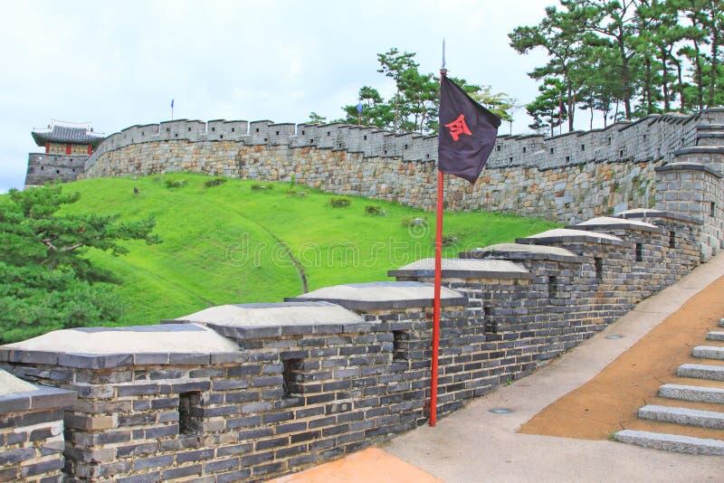 Korea UNESCO światowe dziedzictwo Jest usytuowanym †'Hwaseong forteca zdjęcia stock