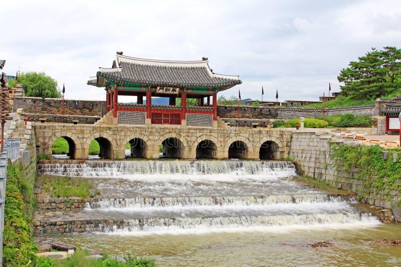 """Korea UNESCO-Welterbestätten †""""Hwaseong-Festungs-Wasser-Tor lizenzfreie stockfotos"""