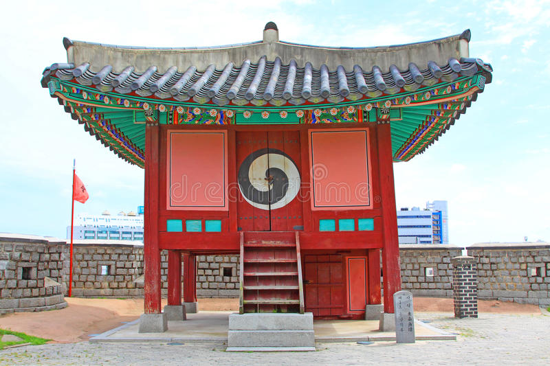 Korea UNESCO World Heritage Sites – Hwaseong Fortress Pavilion. Suwon is a Korea History City, Hwaseong Fortress UNESCO World Heritage Sites is located in stock photography