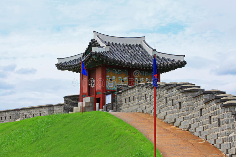 Korea UNESCO World Heritage Sites – Hwaseong Fortress. Suwon is a Korea History City, Hwaseong Fortress UNESCO World Heritage Sites is located in the city stock image