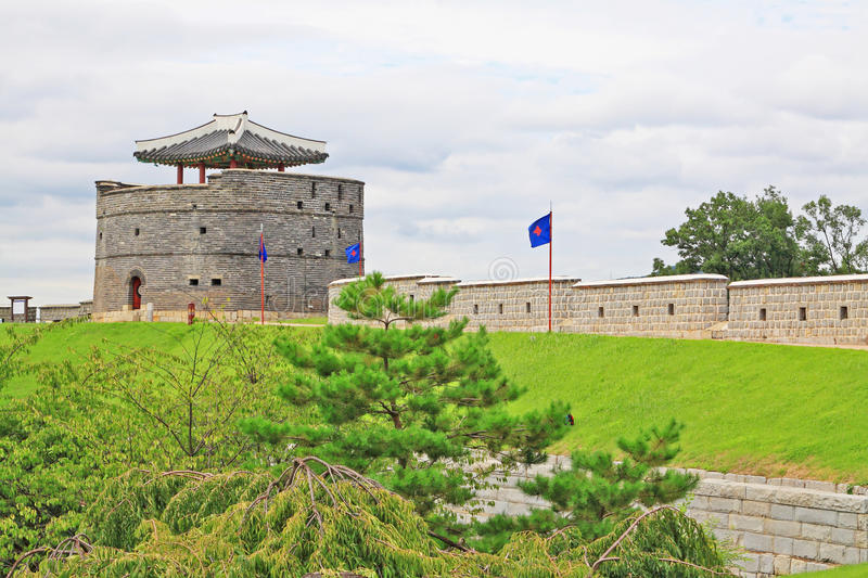Korea UNESCO World Heritage Sites – Hwaseong Fortress. Suwon is a Korea History City, Hwaseong Fortress UNESCO World Heritage Sites is located in the city royalty free stock image