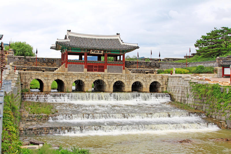 Korea UNESCO World Heritage Sites – Hwaseong Fortress Water Gate. Suwon is a Korea History City, Hwaseong Fortress UNESCO World Heritage Sites is located royalty free stock photos