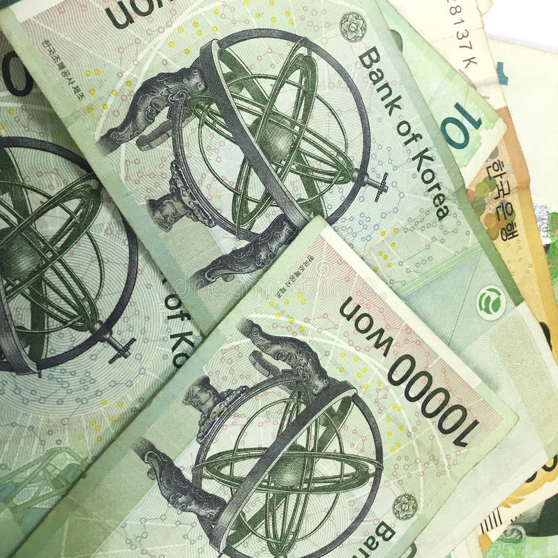 Korea Won Banknotes,print material. Finance symbol royalty free stock images