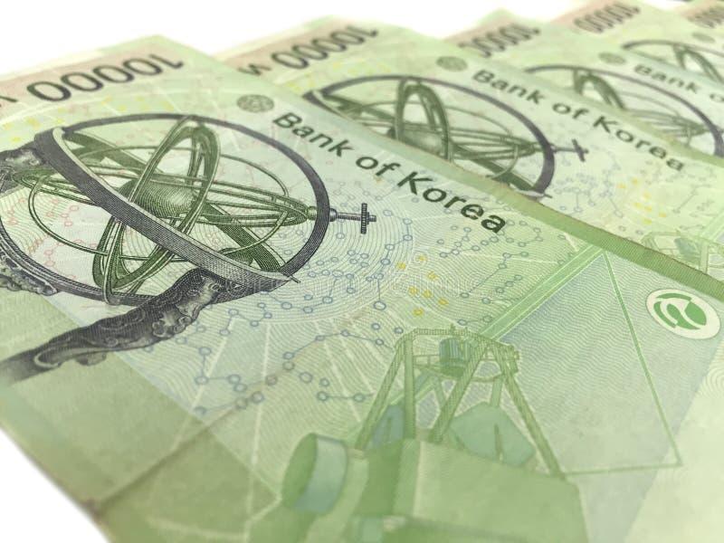 Korea Won Banknotes,print material. Finance symbol stock images