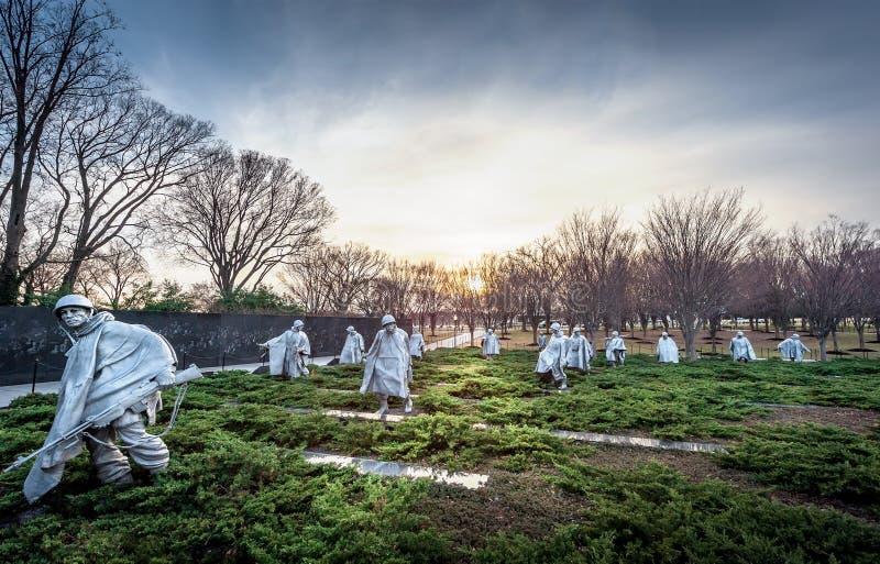 Koreaans Oorlogsgedenkteken in Washington DC bij zonsondergang royalty-vrije stock fotografie