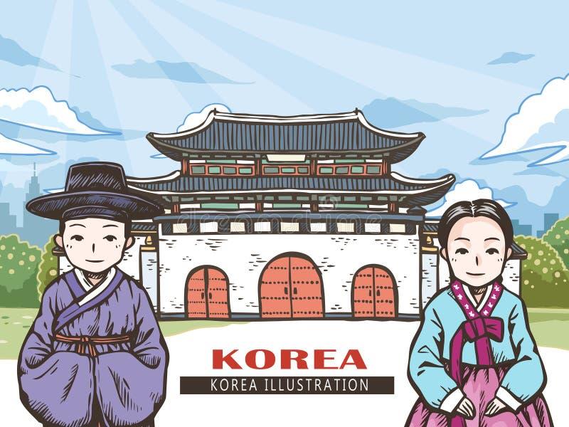 Koreaans reisconcept vector illustratie
