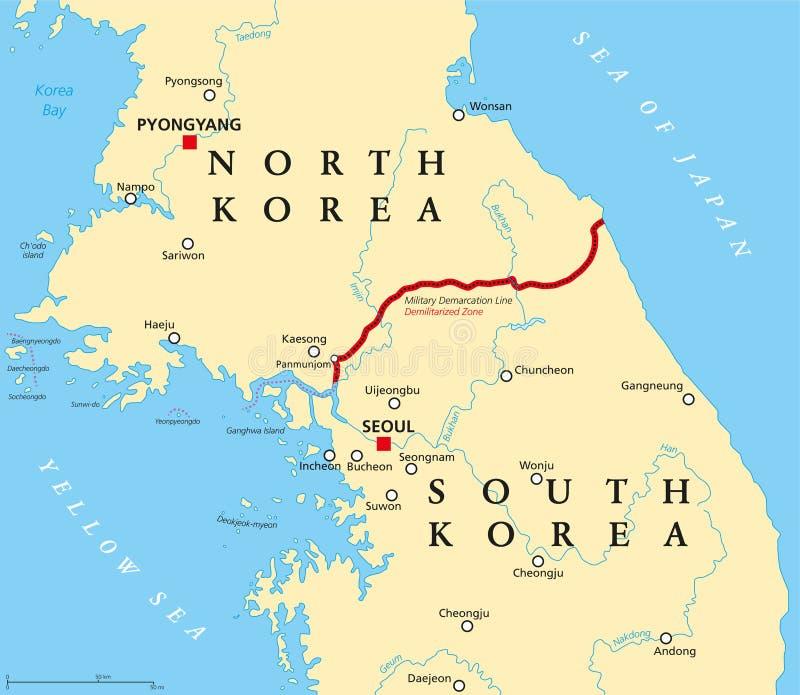 Koreaans schiereiland, gedemilitariseerde streek, politieke kaart stock illustratie
