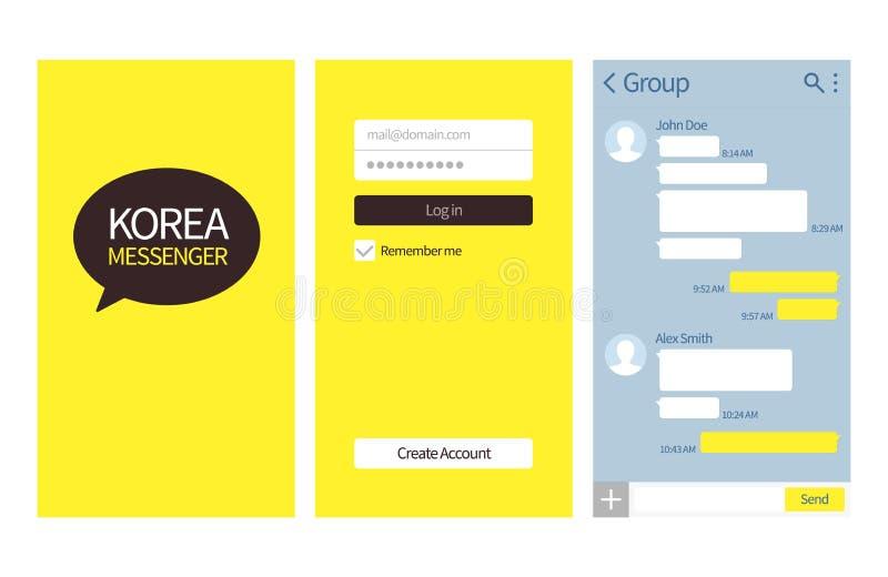 Koreaanse boodschapper De interface van de Kakaobespreking met praatjevakjes, login en leidt tot het vectormalplaatje van de reke stock illustratie