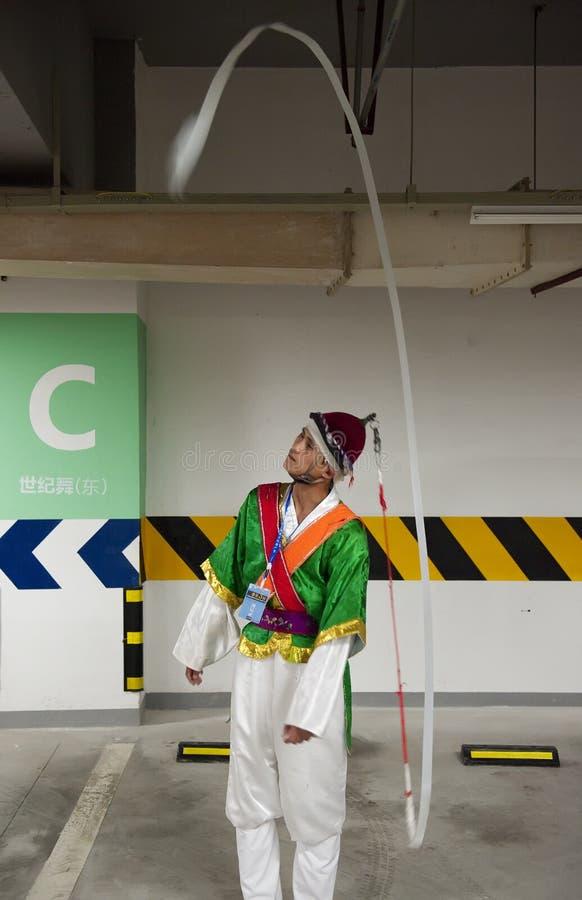 Koreaanse landbouwersdanser royalty-vrije stock afbeeldingen