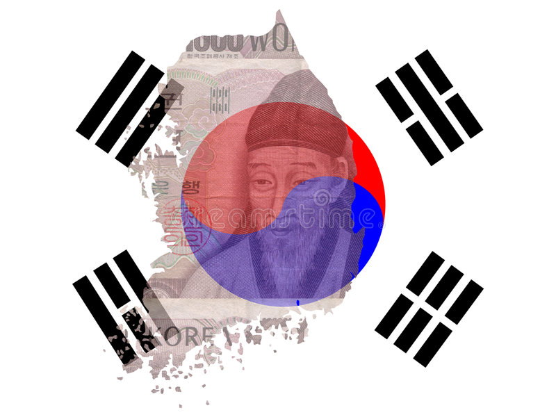 Koreaanse munt met kaart royalty-vrije illustratie