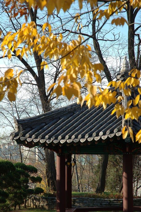 Koreaanse paviljoen bij bomen in Seoul stock foto