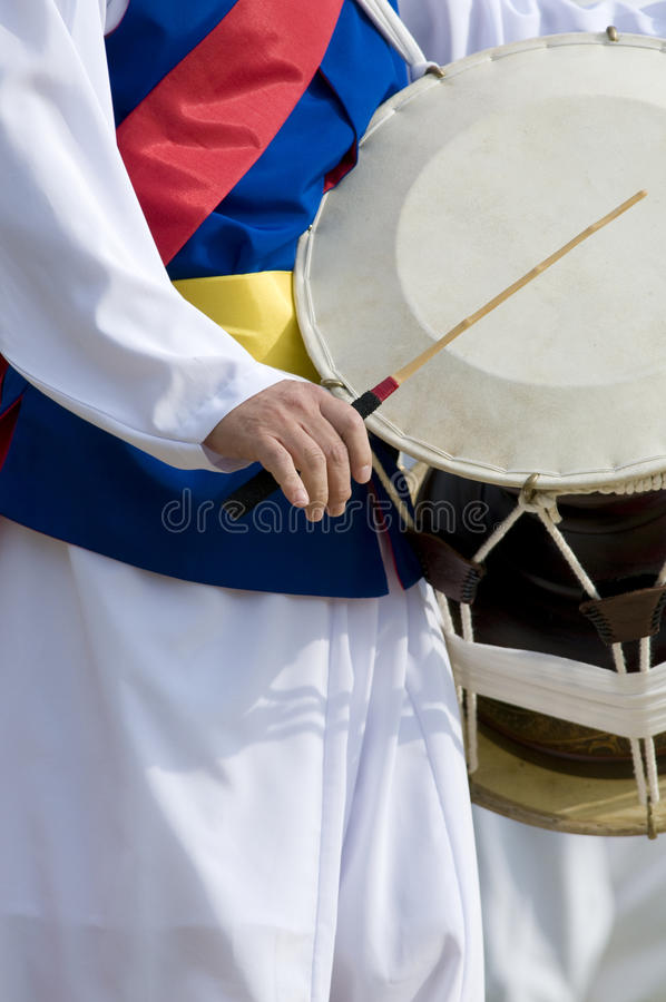 Koreaanse Trommel Janggu en Slagwerker royalty-vrije stock foto's