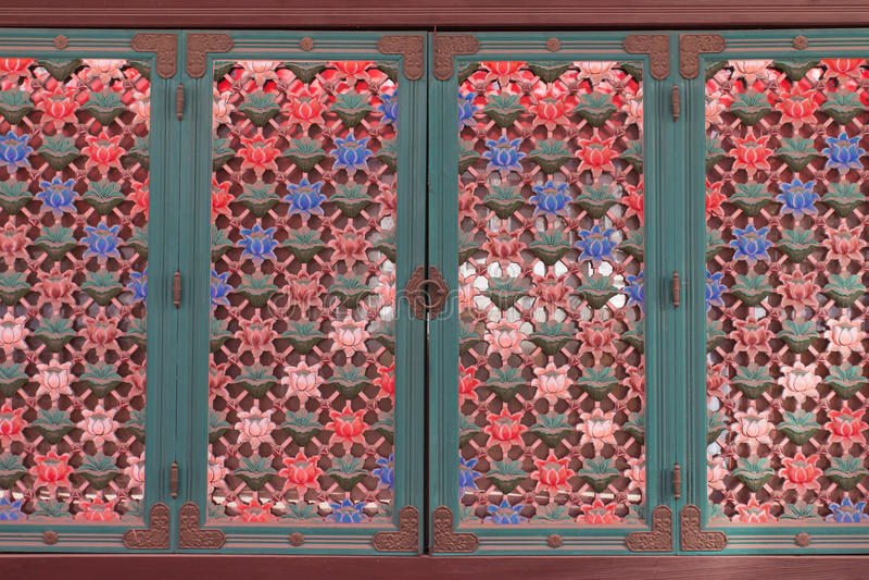 Koreaanse uitstekende deur stock afbeeldingen