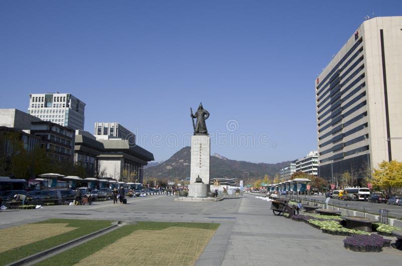 Korean admiral Yi Sun-sin downtown Seoul royalty free stock photos