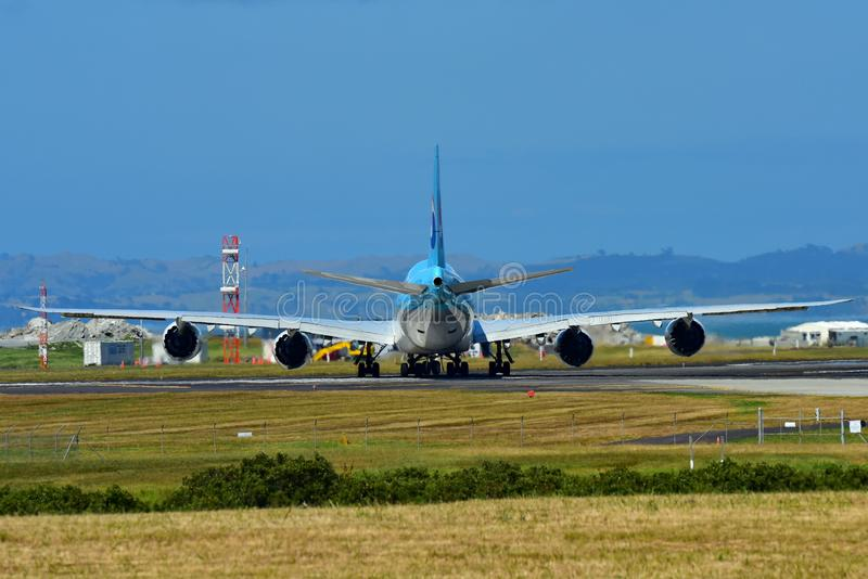 Korean Air Boeing 747-8i super jumbo taxiing at Auckland International Airport. AUCKLAND, NEW ZEALAND - DECEMBER 17: Korean Air Boeing 747-8i super jumbo taxiing stock photo