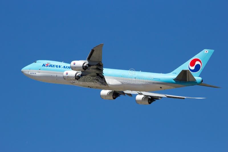 Korean Air lastBoeing 747 nivå arkivbild