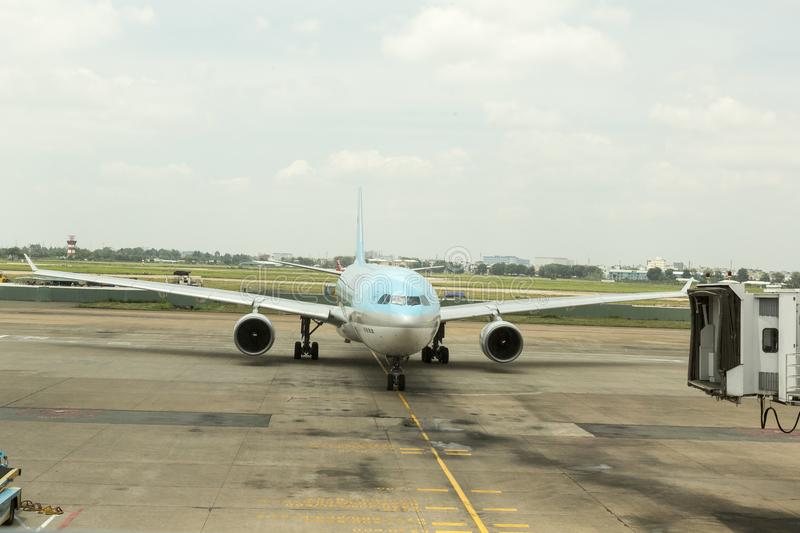 Korean Air at Tan Son Nhat International Airport, HCM, Vietnam. Korean Air landed at Tan Son Nhat International Airport, Ho Chi Minh city, Vietnam. Korean Air royalty free stock photo