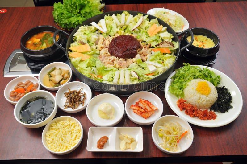 Korean barbecue. Korean food, Korean barbecue, pork and vegetables Sushi royalty free stock photography