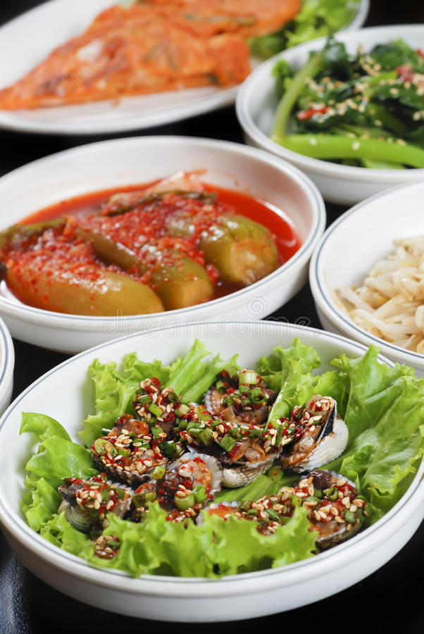Korean barbecue side dishes stock photography