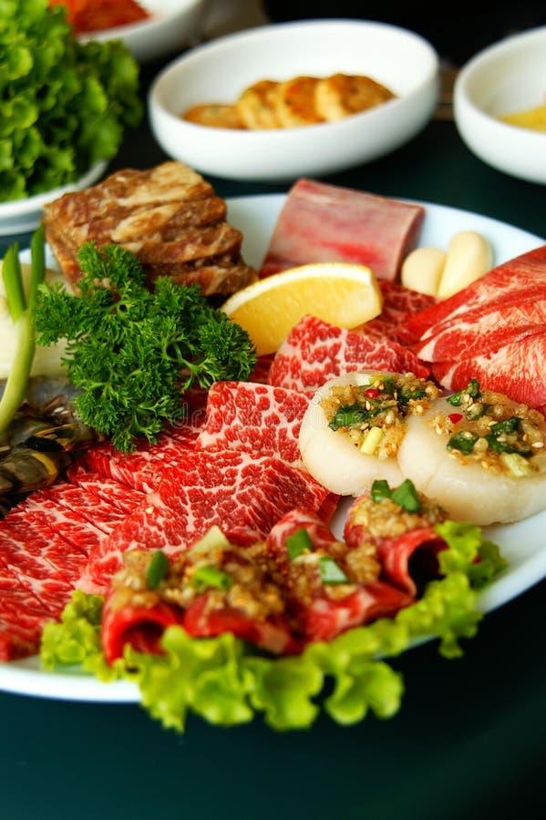 Korean BBQ. A platter of Korean BBQ raw ingredients royalty free stock photography