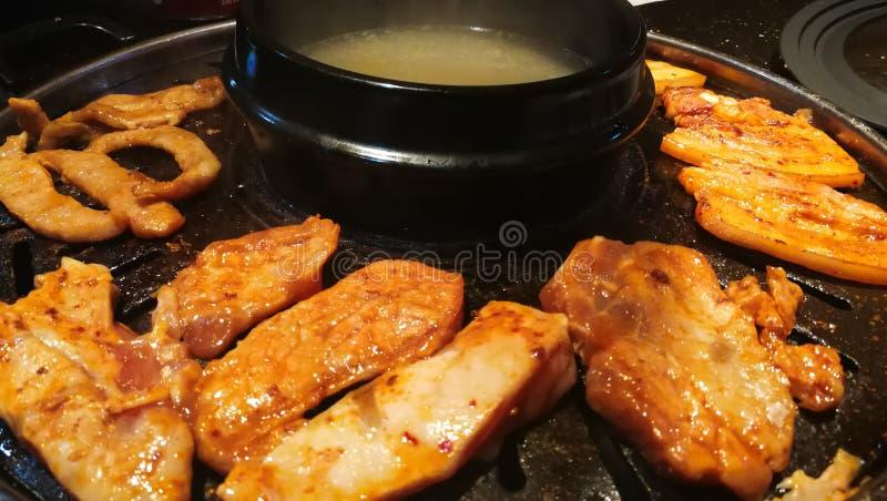 Korean BBQ hot pot in Shatin Hong Kong. Korean barbecue hot pot in Shatin Hong Kong stock photo