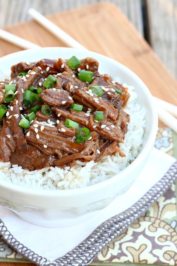 Korean Beef. Served over rice stock photo
