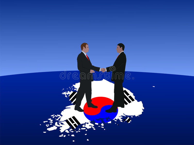 Korean business men meeting. South Korean business men meeting with handshake illustration stock illustration