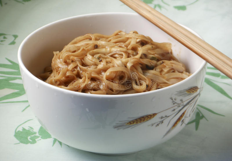 Korean Chinese cuisine Jajangmyeon. In white bowl with chopstick stock photo