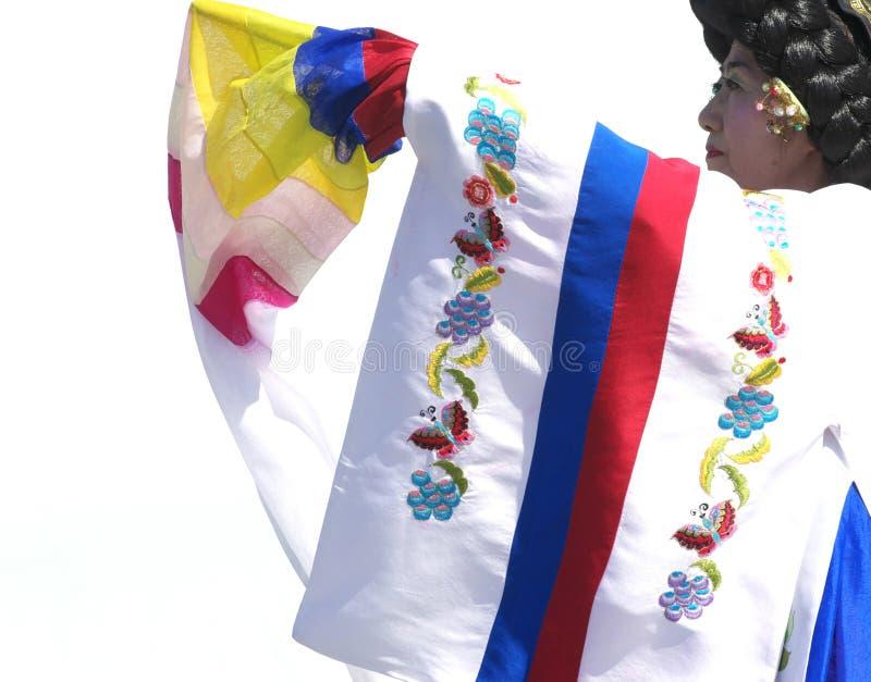 Korean Dancer. A Korean dancer wearing traditional korean clothing (hanbok) performs at Edmonton's Heritage Festival stock photos