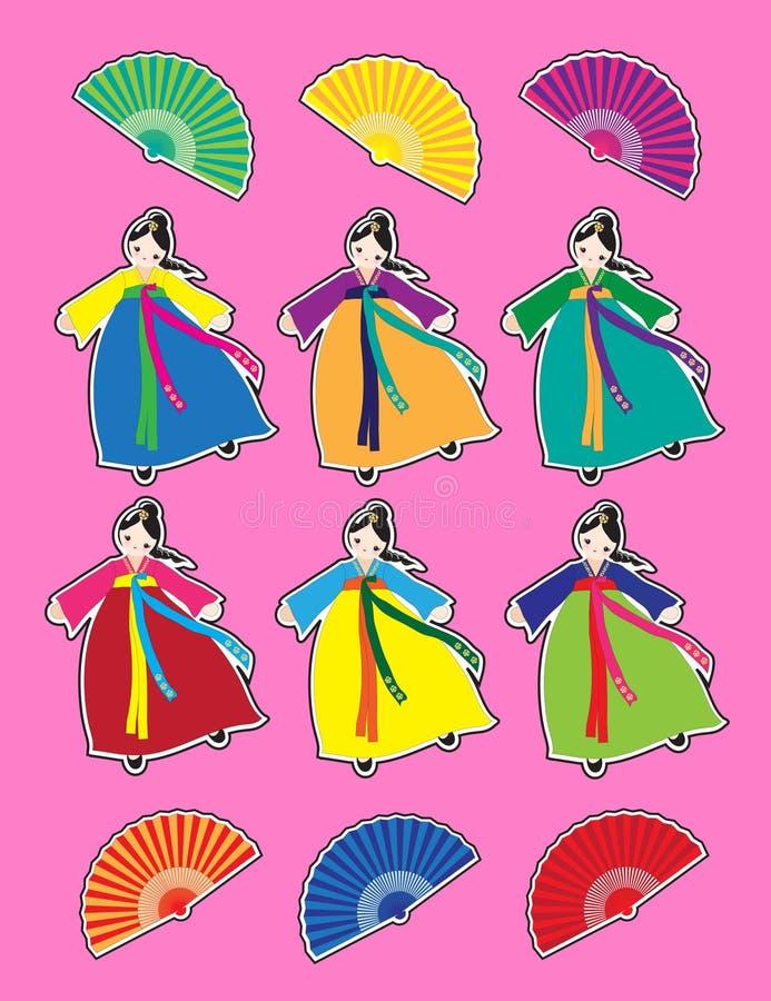 Download Korean dancer stickers stock vector. Illustration of female - 18654409