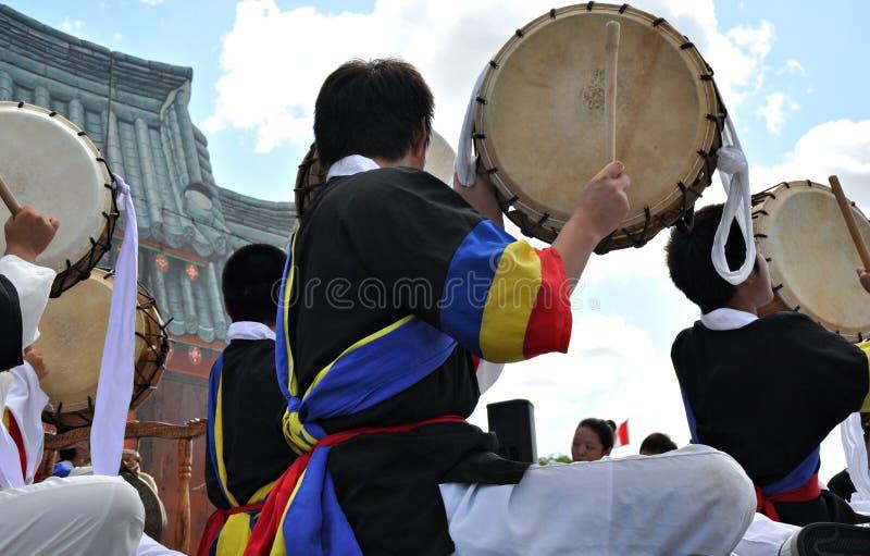 Korean Drumming. Korean drummers at Edmonton's Heritage festival royalty free stock photo