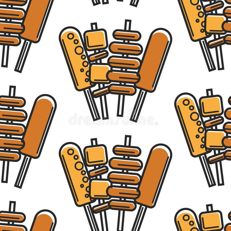 Korean fast food street meals on stick seamless pattern. Street food on stick Korean cuisine seamless pattern meat potato and cheese on skewer vector deep fried royalty free illustration