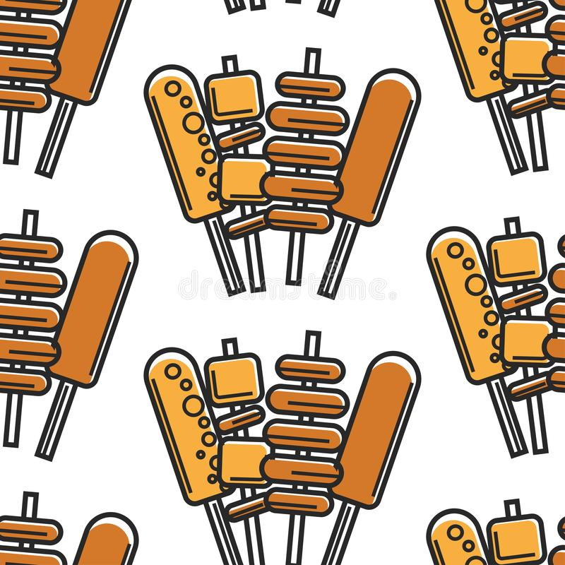 Korean fast food street meals on stick seamless pattern. Street food on stick Korean cuisine seamless pattern meat potato and cheese on skewer vector deep fried vector illustration