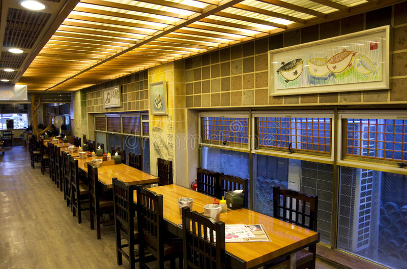 Korean fish restaurant stock photography