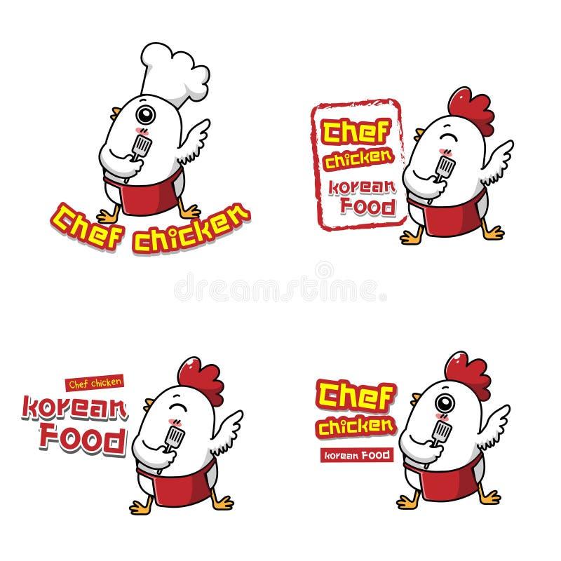 Chicken chef for korean kitchen. stock illustration